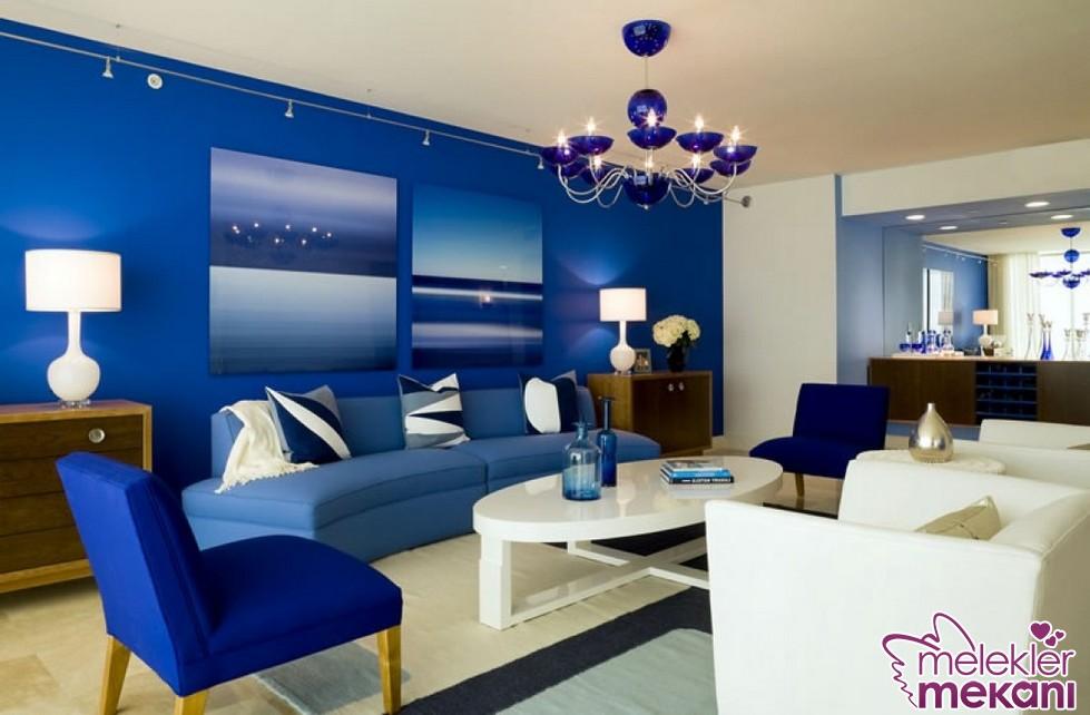 2016 salon dekorasyonlarında mavi ve tonlarından faydalanabilirsiniz.