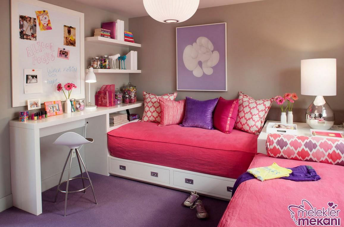 Kızların sevdiği renk tercihleri ile harika bir kız yatak odası dekore edebilirsiniz.