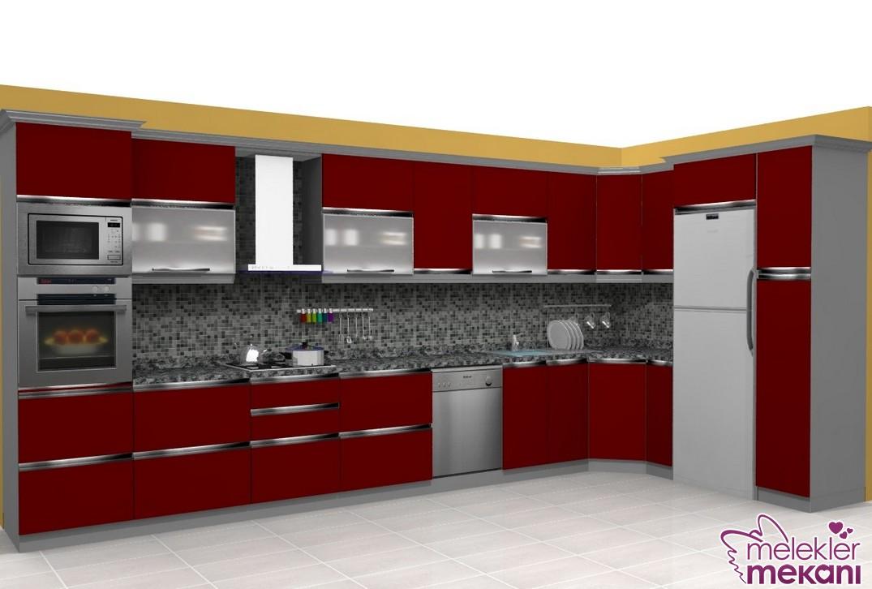 Kelebek hazır mutfak modelleri kırmızı renkli seçiminiz ile göz alıcı bir mutfak dekore edebilirsiniz.