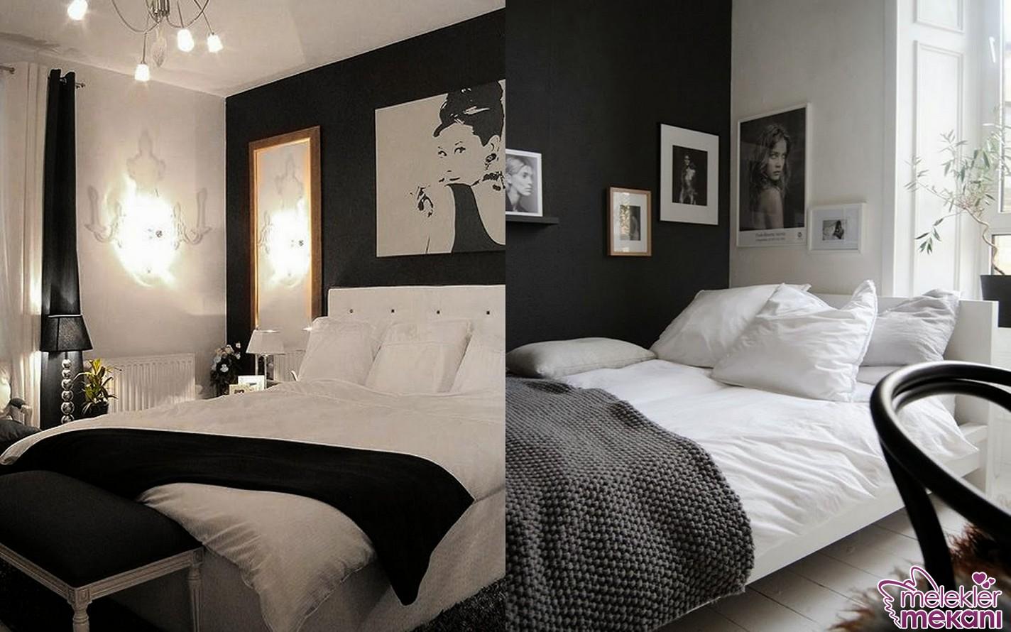 Zıt renkler olan siyah beyaz ile yatak odanızda uyumlu bir dekorasyon anlayışı oluşturabilirsiniz.