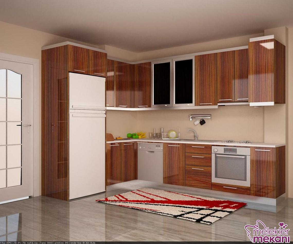 Parlak mutfak dolabı tercihi ile şık bir mutfak dekorasyonu elde edebilirsiniz.