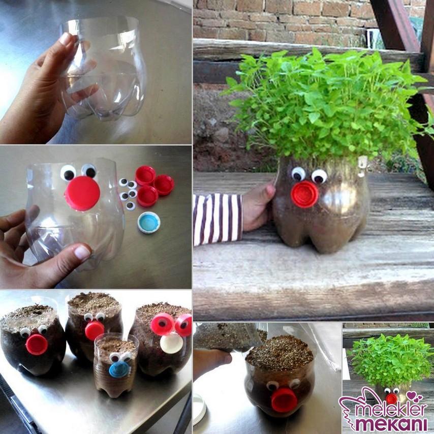 Pet şişeden sevimli saksılar yaparak balkon ya da bahçenizde değişim yakalayabilirsiniz.
