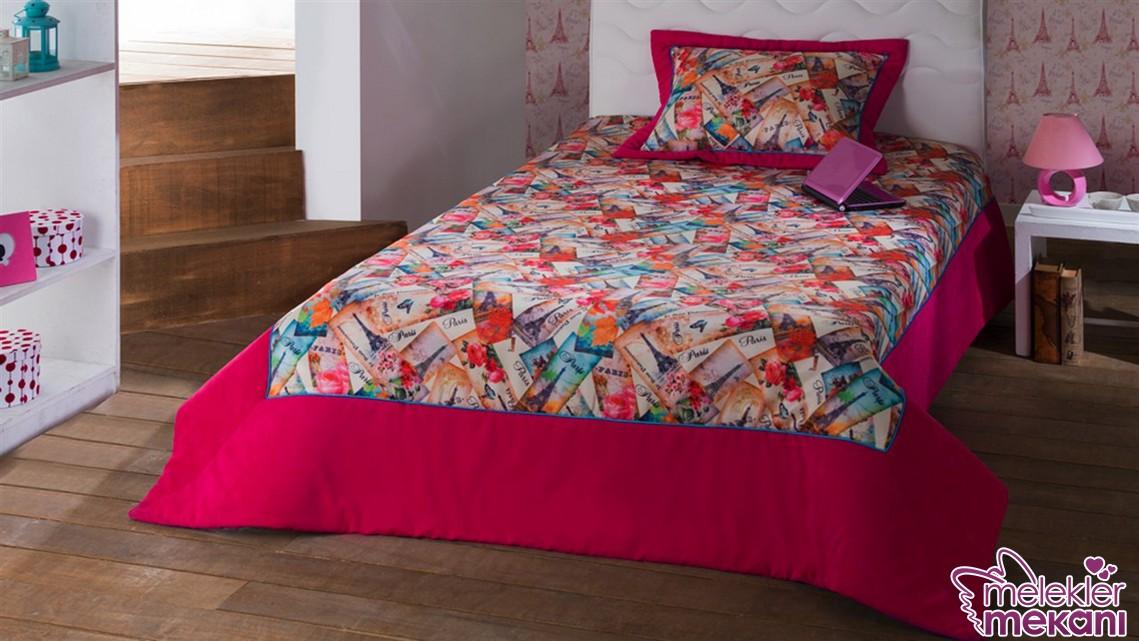 Yeni trend Bellona Paris yatak örtüsü modeli ile kızınızın odasında harika bir görünüm yakalayabilirsiniz.