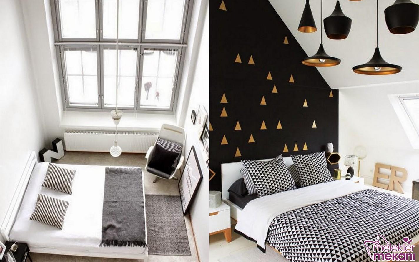 Yatak odanızda siyah beyaz dekorasyon ile etkili görünümü yakalamanız kaçınılmaz.