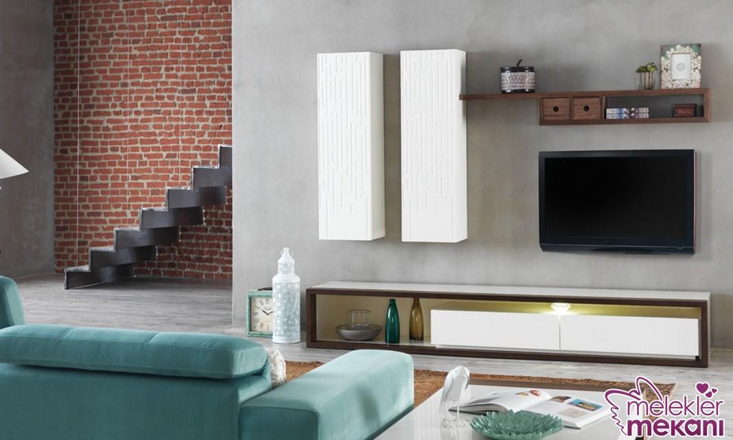 Modern duvar ünitesi seçimi ile oda dekoratifliklerinizi canlandırabilirsiniz.