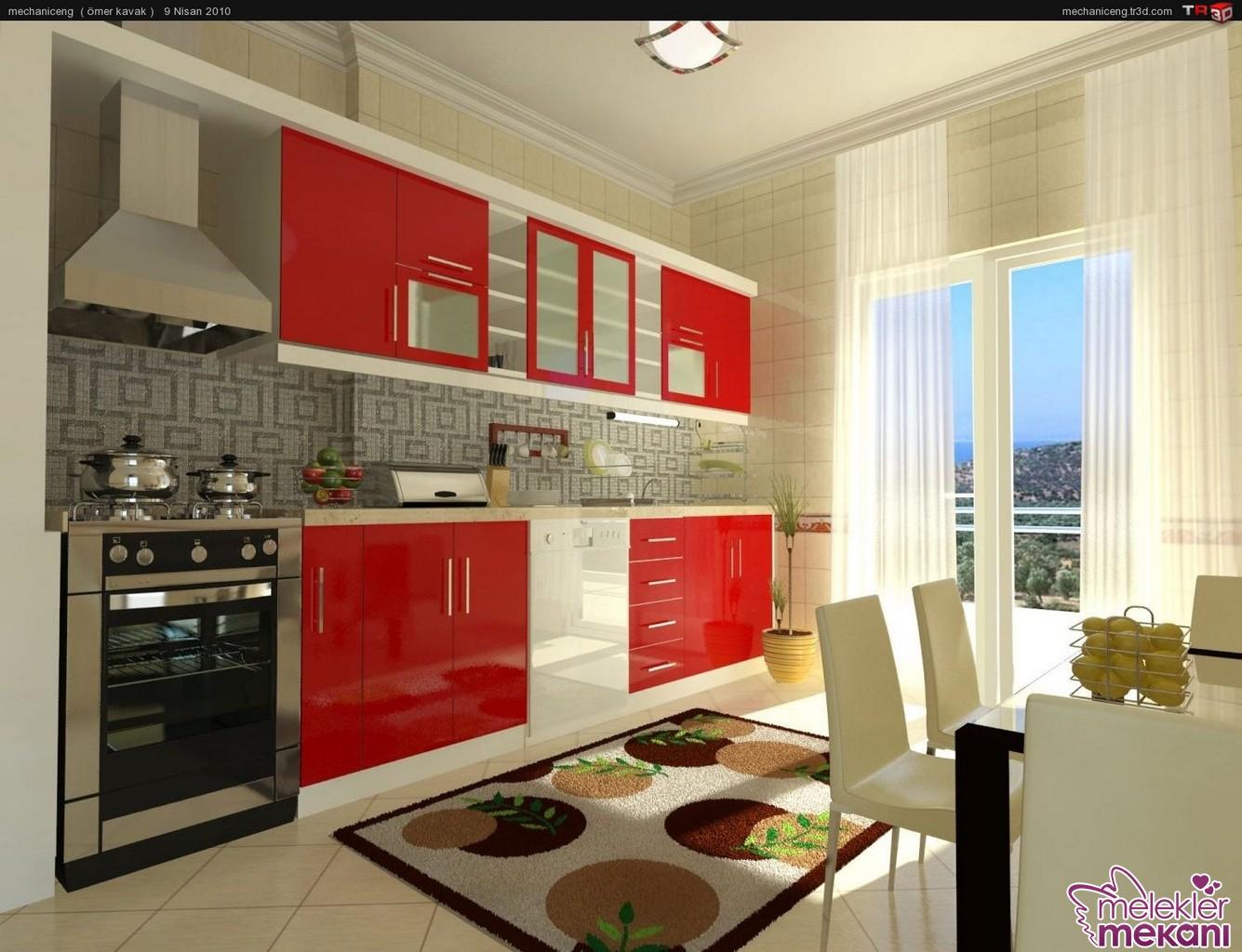 Mutfak dekorasyonunda kırmızı beyaz renklerden faydalanarak canlı görünümler yakalanabilir.