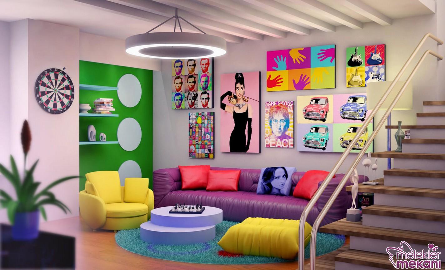 Enerjik renklerle beraber Hollywood yıldızı panoları da pop art dekor tercihinizin bir parçası olabilecektir.