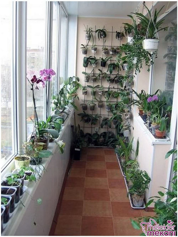 Kapalı balkon dekorasyonu yapabilmek için canlı çiçeklerle dolu bir köşe oluşturma tercihinde bulunabilirsiniz.