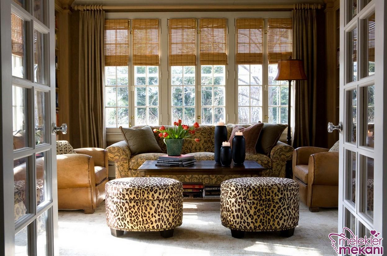Leopar desenli puf tasarımları ile salonlarınızda değişim yakalamanız mümkün.