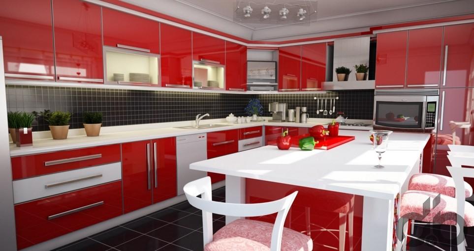 modern-kirmizi-mutfak-dekorasyonu-2016-jpg.73780 Kırmızı rengin tutkusunu evinde isteyenlere öneriler Melekler Mekanı Forum