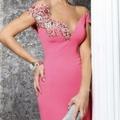 Kolu işlemeli pembe abiye elbise modeli