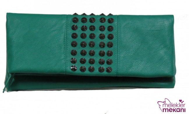 zümrüt yeşili clutch çanta modeli