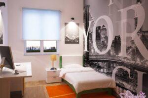 Dar genç odası dekorasyonlarında hareketli duvar kağıtlarından faydalanabilirsiniz.
