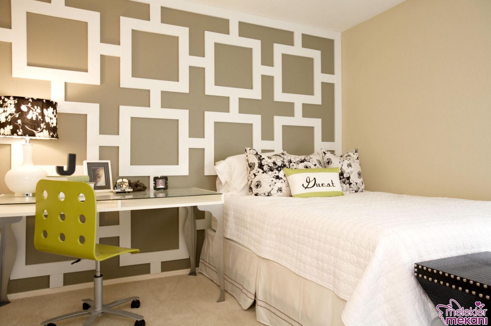 Geometrik desenli duvar dekorasyonları ile genç odalarını yenileyebilirsiniz.