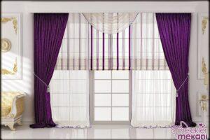 Modern salon dekorasyon tercihi için simli fon perdelerden faydalanabilirsiniz.