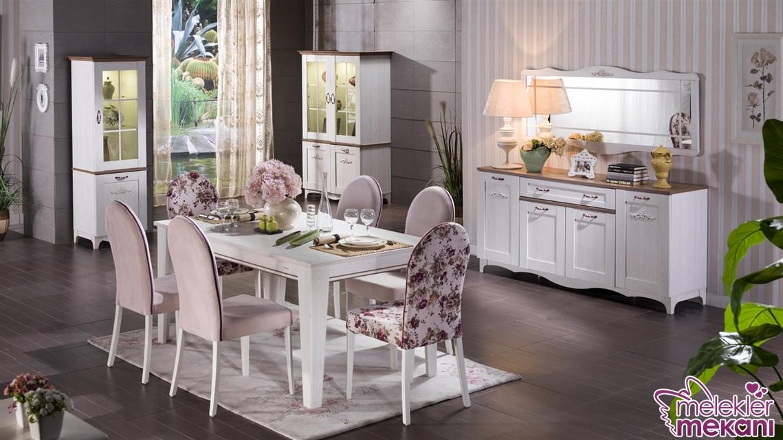Venturo yemek odası takımı modeli ile bahar havasını yemek odaalrınzda hissedebilirsiniz.
