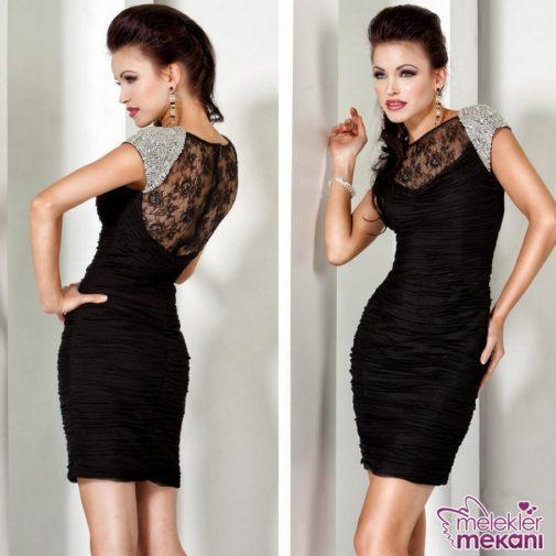 mini siyah abiye elbise modeli