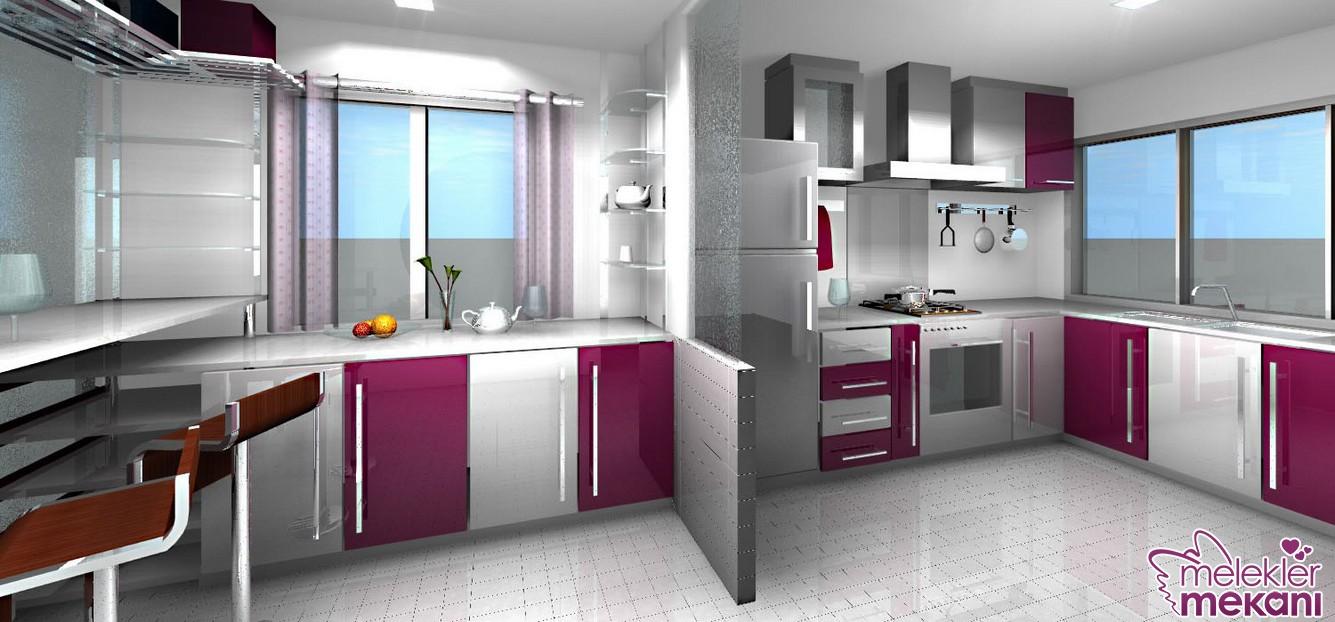 Çift bölmeli mor renkli mutfak dolabı modeli ile yeni trend renkleri mutfağınızda hissedebilirsiniz.
