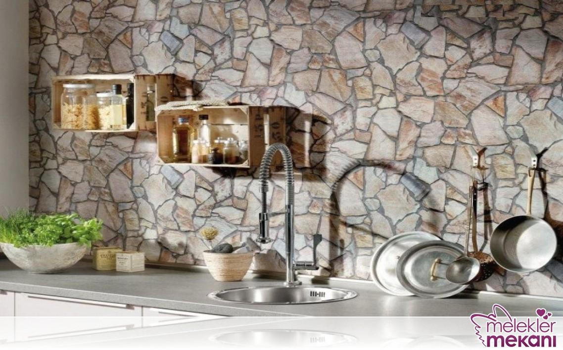 2016 Mutfak taş desenli duvar kağıdı modeli ile özel görünümleri elde edebilirsiniz.