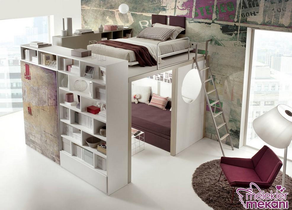 Akıllı depolama alanları ile genç odasında alandan tasarruf sağlayabilirsiniz.