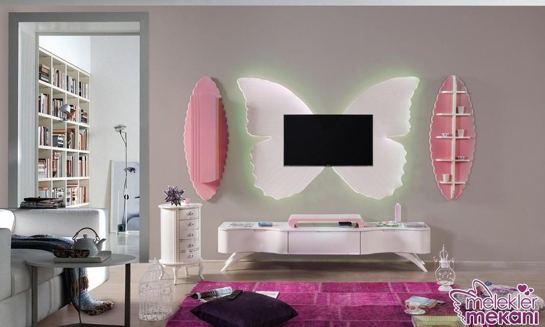 Kelebek model tv ünitesi tercihi ile estetik görsel şölen elde edebilirsiniz.