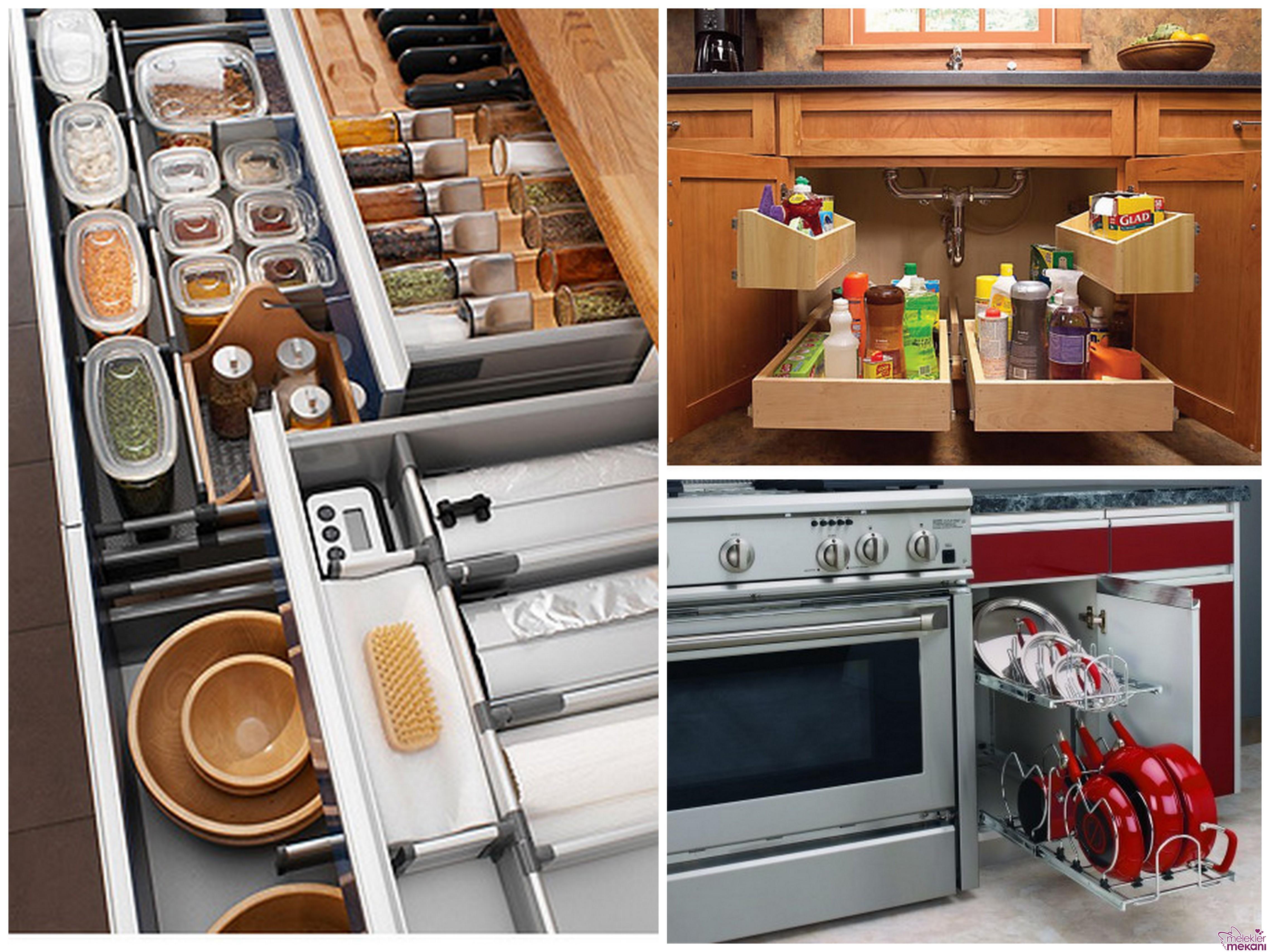 Mutfakta dolap içi düzenleyicileri ile düzen sağlayabilirsiniz.