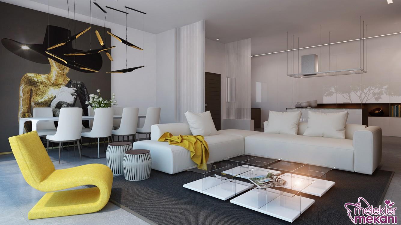 Beyaz salon dekorasyonları tercihi ile alan genişliği hissini yakalayabilirsiniz.