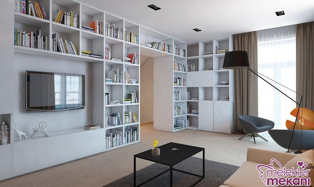 Şık ve modern duvar dekor modelleri arasında yer alan kitaplık model tercihi ile zevkli bir oda dekore edebilirsiniz.