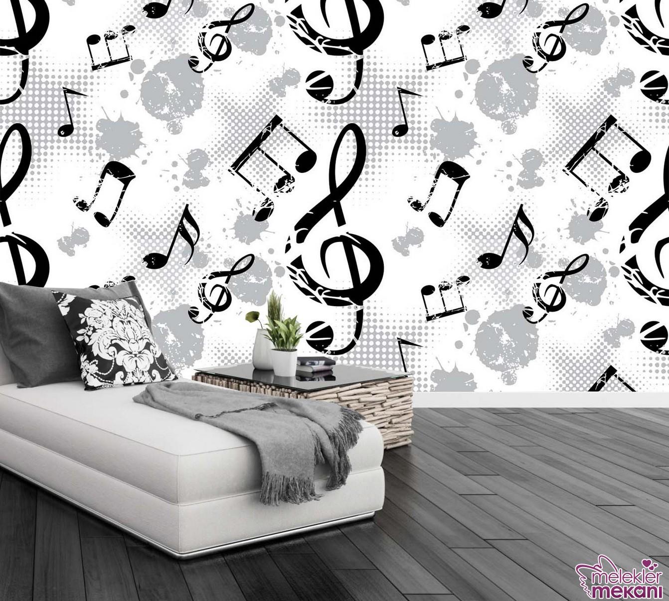 Baskı desenli siyah beyaz genç odası duvar kağıdı model seçimi ile genç odalarınızı estetikleştirebilirsiniz.