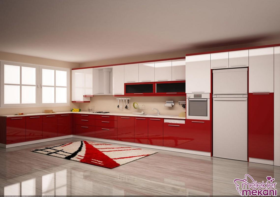 Kırmızı beyaz L mutfak modelleri seçiminiz ile geniş mutfaklarınızda ayrı bir sıcaklık oluşturabileceksiniz.