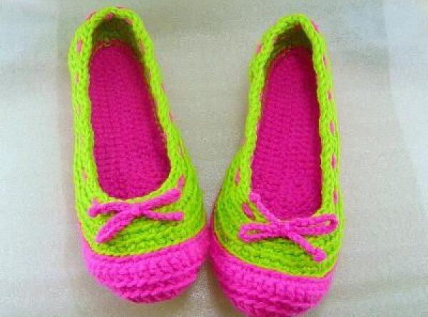 örgüden bayan babet ayakkabı modeli