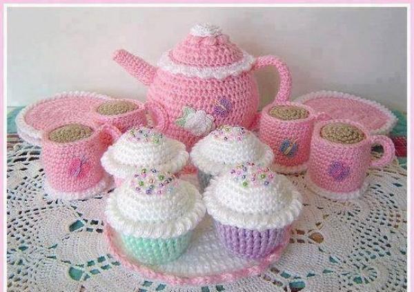 tığ işinden örgü çay cupcake oyuncak seti