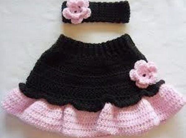 Kız bebek siyah pembe çingene eteği modası