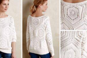 motifli beyaz renk tığ işi örgüden yazlık bluz