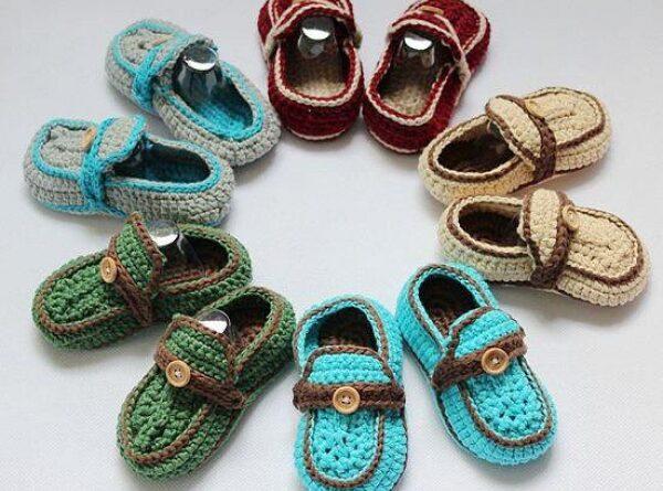 el örgüsünden renk renk erkek bebek ayakkabılar