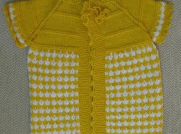 sarı beyaz el emeği göz nuru bebek yelek modeli