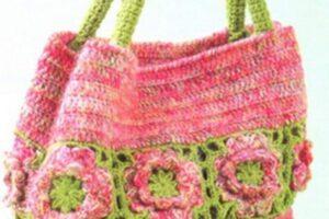 rengarenk motifli el örgüsü çanta