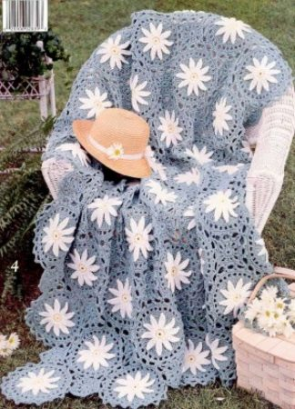 yıldız çiçek motifli tığ işi örgüden koltuk örtüsü