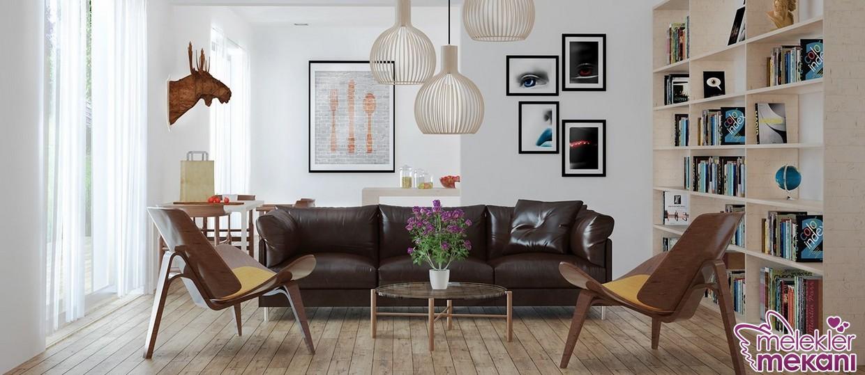 En trend salon dekoru görünümünde farklı dekoratif tablo ve sarkıtlar seçiminiz olabilir.