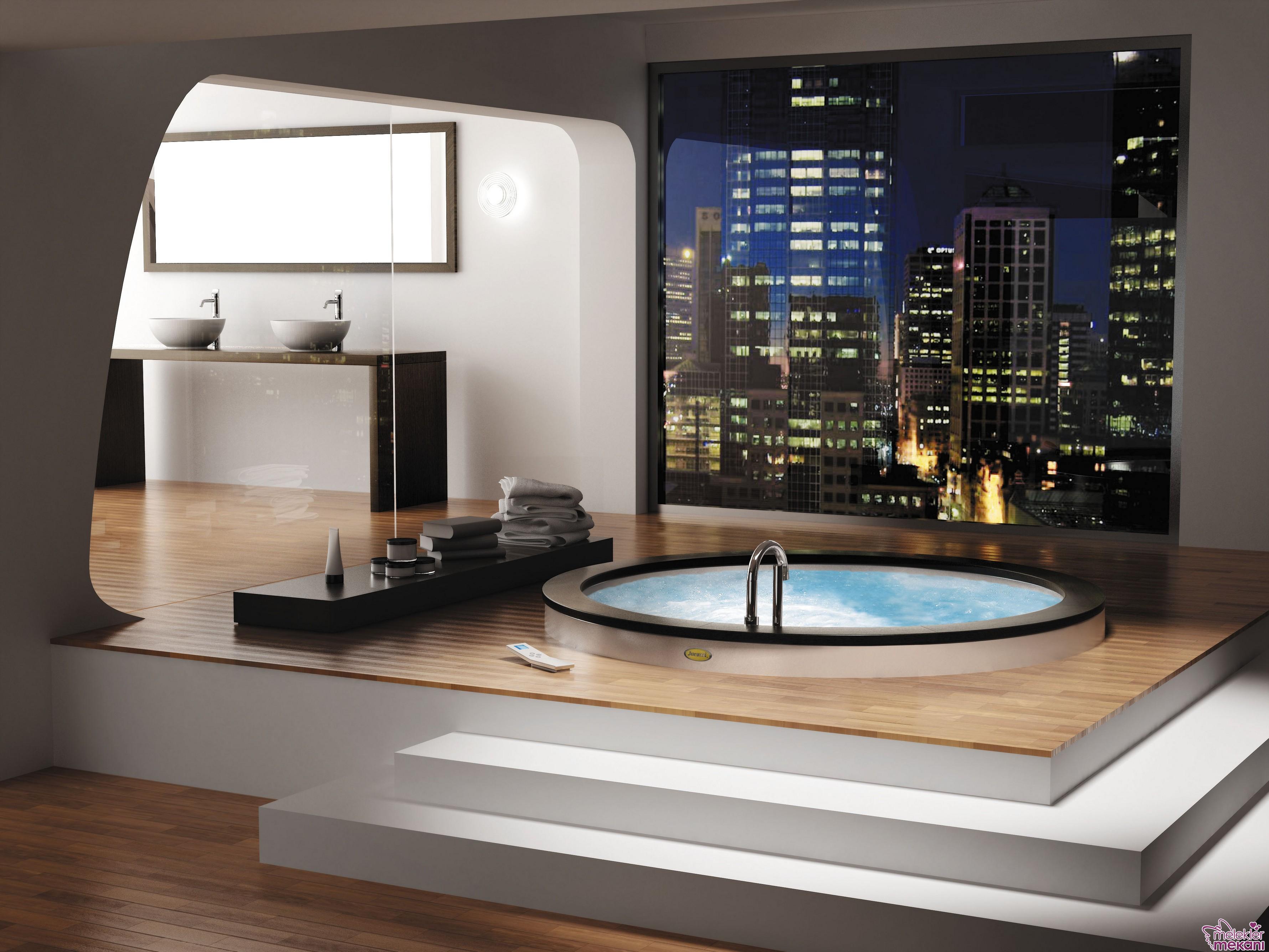 Manzaralı duvar kağıtları modern görünümlü banyo oluşumuna yardımcı ürünlerdir.