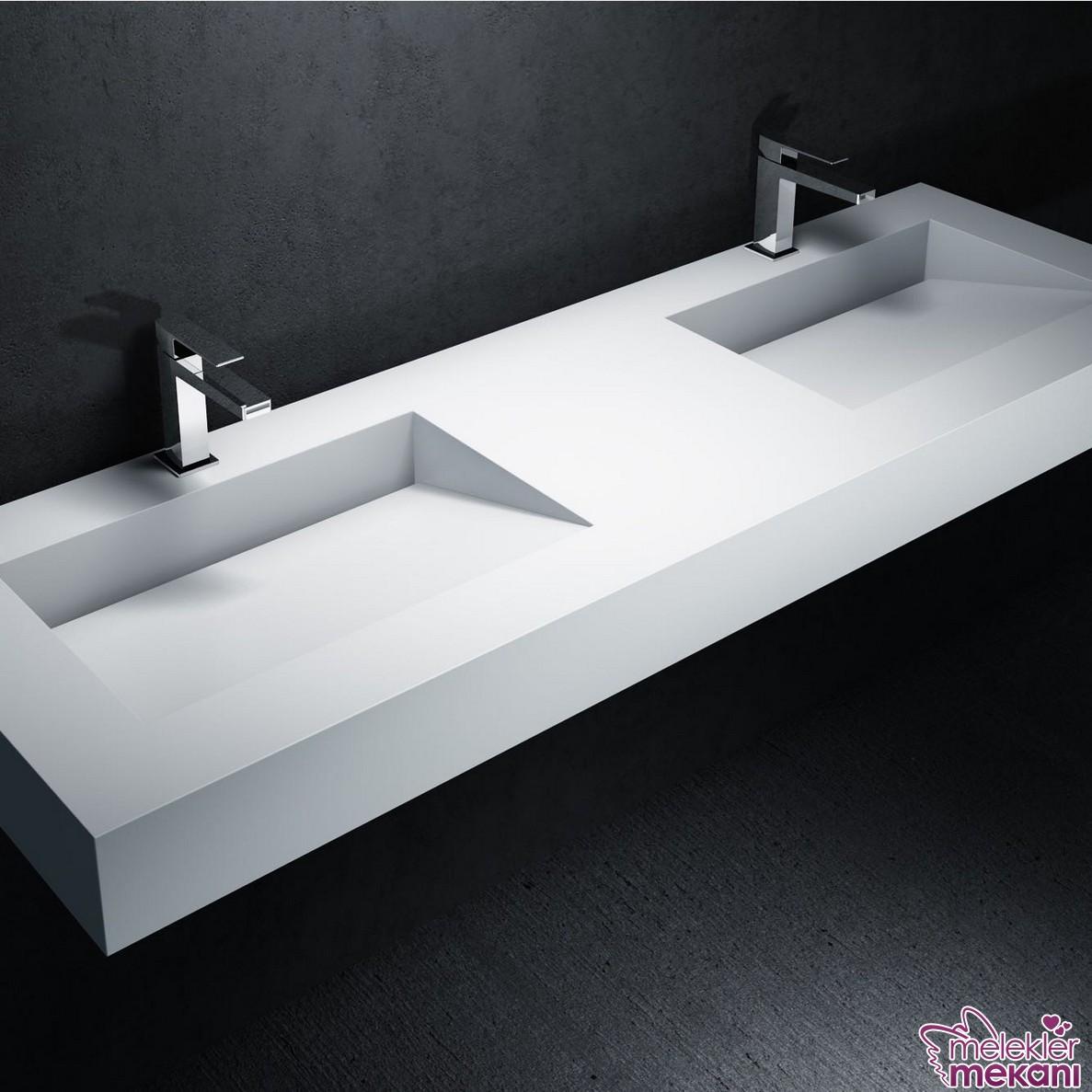 Corian yalak tipi lavabo seçiminiz ile farklı bir lavabo görünümünü banyonuzda elde edebilirsiniz.