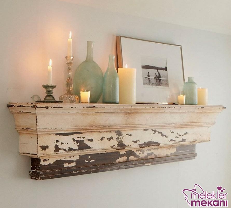 Dekoratif eskitme ahşap raf tercihiniz ile ev ortamlarınızda nostaljiye davetiye çıkarabilirsiniz.