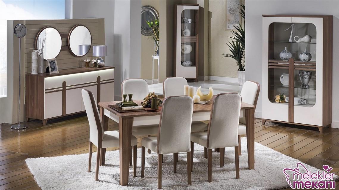 Vegas yemek odası krem ceviz rengi ile ferah yemek odaları evinizde her zaman sizlerle olabilecek.
